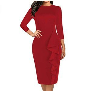 Sheath Pencil Dress Cocktail Evening Wine Solid